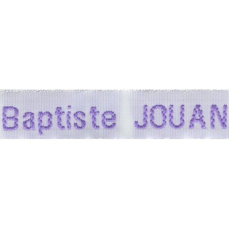 Etiquettes tissées Modèle Z - Ruban Blanc 12 mm - Lettrage Parme