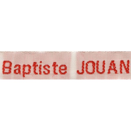 Woven labels, Model Z - White 12mm ribbon - Red lettering