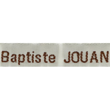Woven labels, Model Z - White 12mm ribbon - Brown lettering