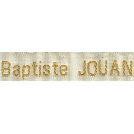 Etiquettes tissées Modèle Z - Ruban Blanc 12 mm - Lettrage Vieil Or