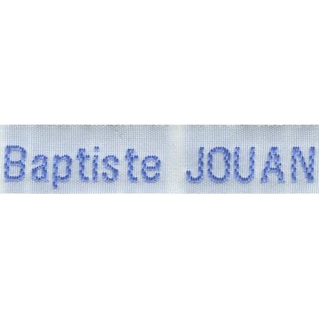 Woven labels, Model Z - White 12mm ribbon - Sky-blue lettering