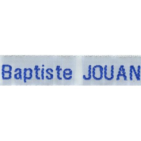 Woven labels, Model Z - White 12mm ribbon - Royal blue lettering