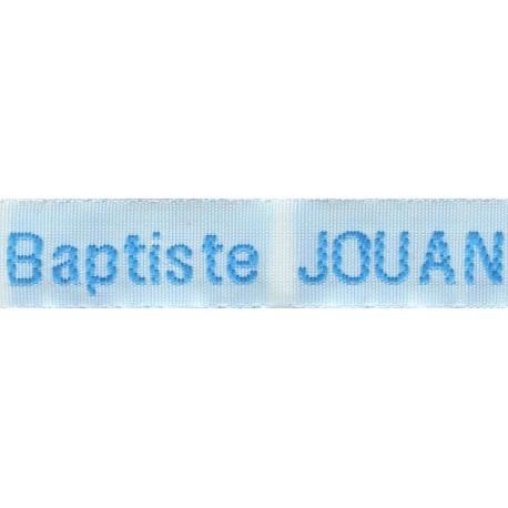 Etiquettes tissées Modèle Z - Ruban Blanc 12 mm - Lettrage Turquoise