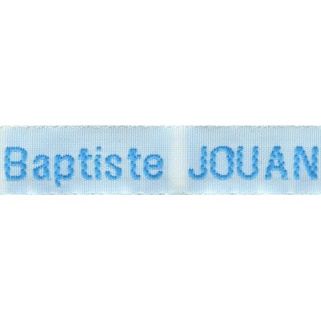 Woven labels, Model Z - White 12mm ribbon - Turquoise lettering