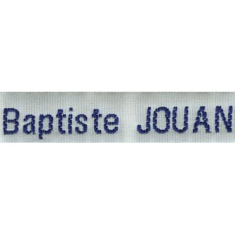 Etiquettes tissées Modèle Z - Ruban Blanc 12 mm - Lettrage Marine