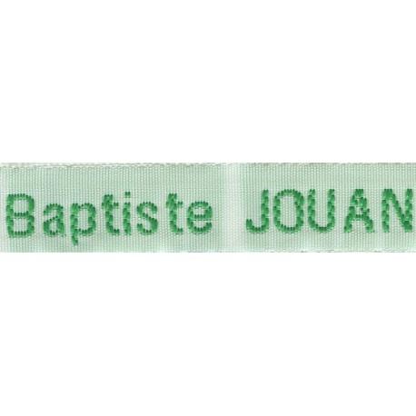 Woven labels, Model Z - White 12mm ribbon - Green lettering