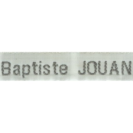 Etiquettes tissées Modèle Z - Ruban Blanc 12 mm - Lettrage Gris