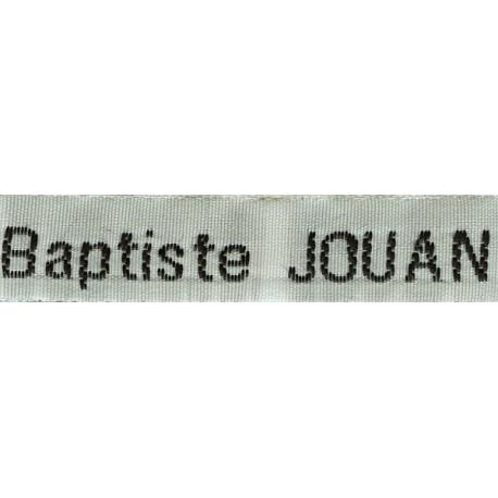 Woven labels, Model Z - White 12mm ribbon - Black lettering