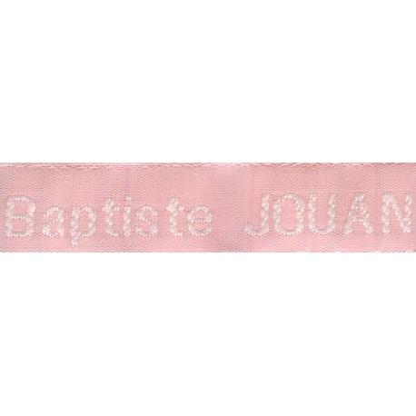 Etiquettes tissées Modèle Z - Ruban Rose 12 mm - Lettrage Blanc