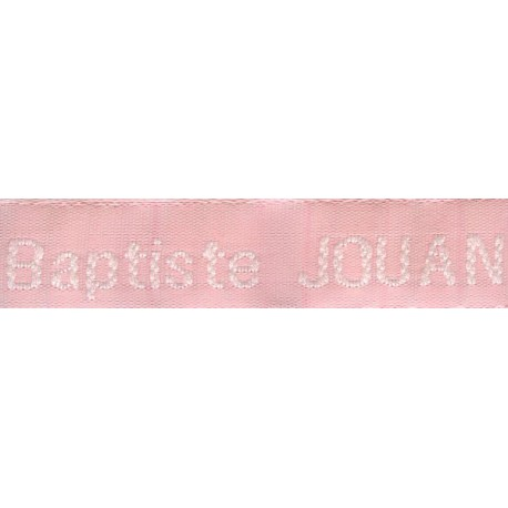 Woven labels, Model Z - Pink 12mm ribbon - White lettering