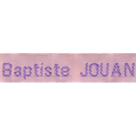Woven labels, Model Z - Pink 12mm ribbon - Violet lettering