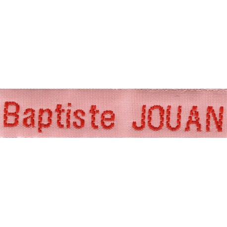 Woven labels, Model Z - Pink 12mm ribbon - Red lettering
