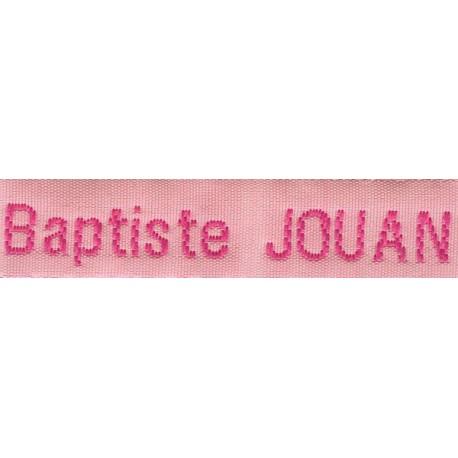 Woven labels, Model Z - Pink 12mm ribbon - Fuchsia lettering