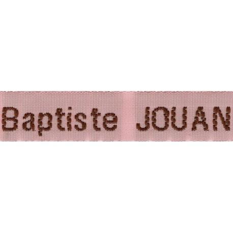 Woven labels, Model Z - Pink 12mm ribbon - Brown lettering