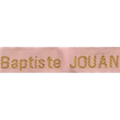 Etiquettes tissées Modèle Z - Ruban Rose 12 mm - Lettrage Vieil Or