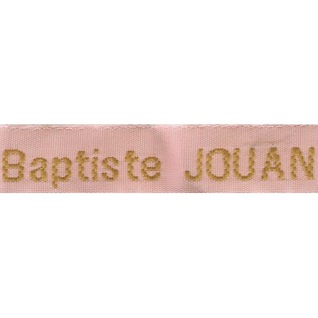 Woven labels, Model Z - Pink 12mm ribbon - Antique Gold lettering