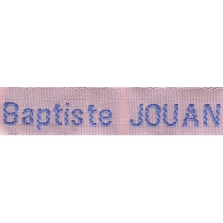 Woven labels, Model Z - Pink 12mm ribbon - Sky-blue lettering