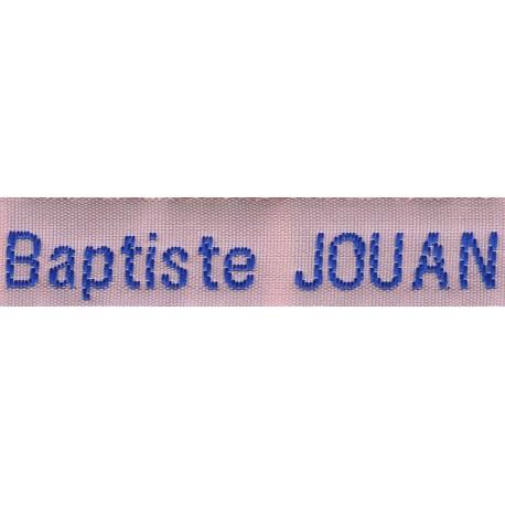 Etiquettes tissées Modèle Z - Ruban Rose 12 mm - Lettrage Roy