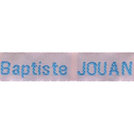 Etiquettes tissées Modèle Z - Ruban Rose 12 mm - Lettrage Turquoise