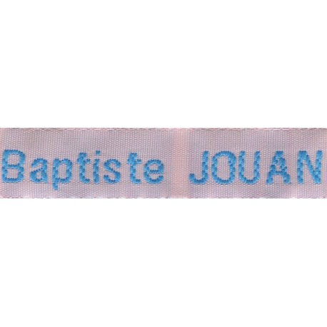 Woven labels, Model Z - Pink 12mm ribbon - Turquoise lettering