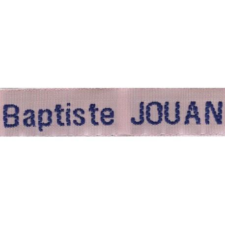 Woven labels, Model Z - Pink 12mm ribbon - Navy lettering