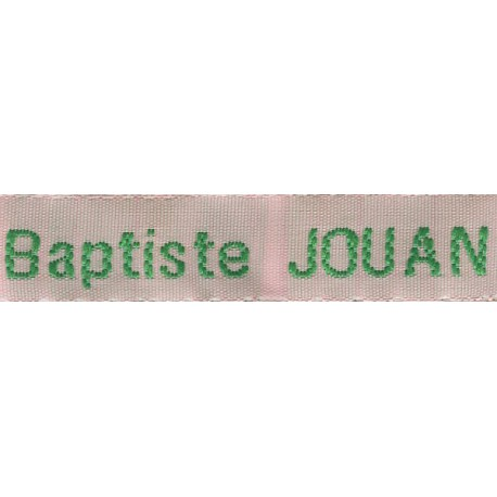 Woven labels, Model Z - Pink 12mm ribbon - Green lettering