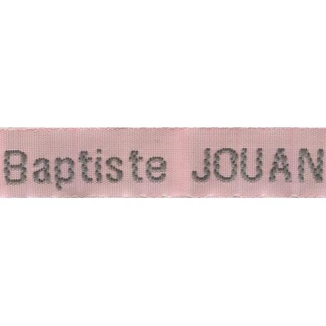 Etiquettes tissées Modèle Z - Ruban Rose 12 mm - Lettrage Gris