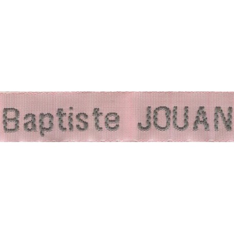 Woven labels, Model Z - Pink 12mm ribbon - Grey lettering