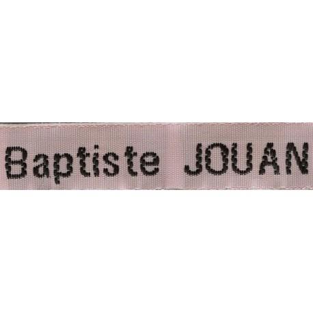 Etiquettes tissées Modèle Z - Ruban Rose 12 mm - Lettrage Noir