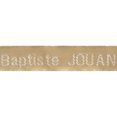 Etiquettes tissées Modèle Z - Ruban Beige 12 mm - Lettrage Blanc