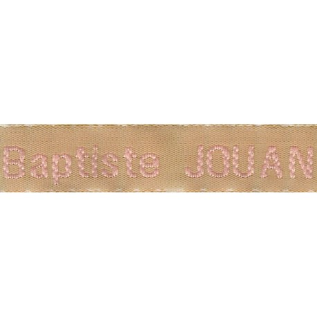 Woven labels, Model Z - Beige 12mm ribbon - Pink lettering