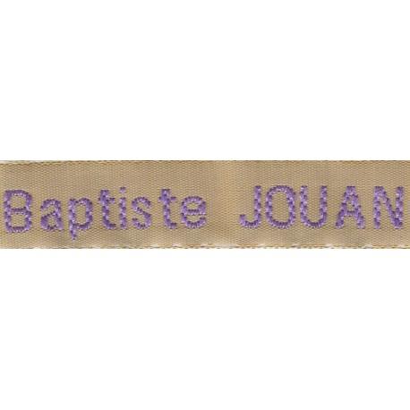 Etiquettes tissées Modèle Z - Ruban Beige 12 mm - Lettrage Parme