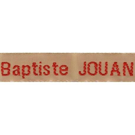 Woven labels, Model Z - Beige 12mm ribbon - Red lettering