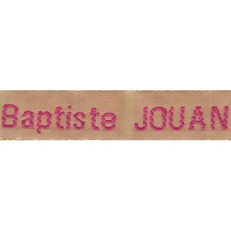 Woven labels, Model Z - Beige 12mm ribbon - Fuchsia lettering