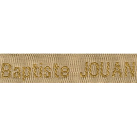 Woven labels, Model Z - Beige 12mm ribbon - Antique Gold lettering