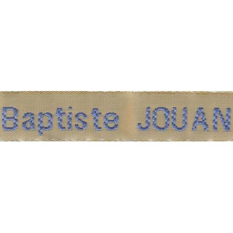 Etiquettes tissées Modèle Z - Ruban Beige 12 mm - Lettrage Ciel
