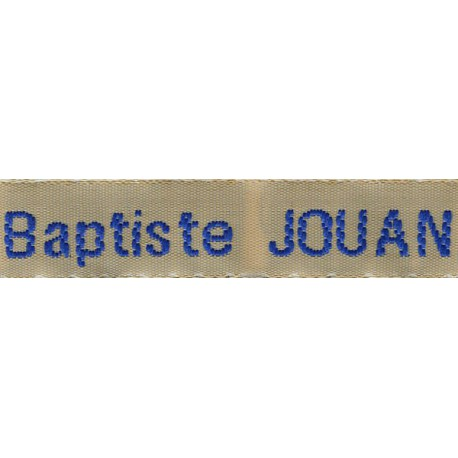 Woven labels, Model Z - Beige 12mm ribbon - Royal blue lettering