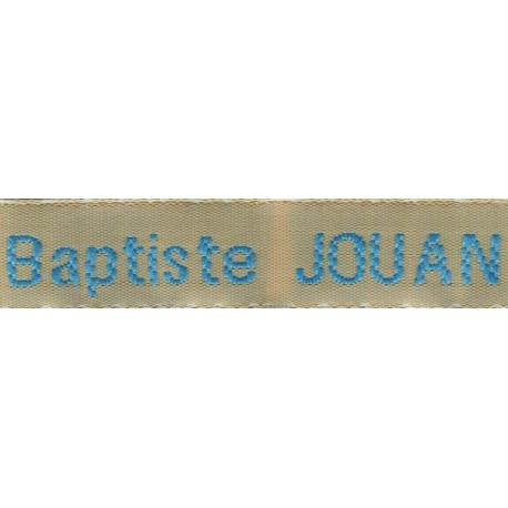 Etiquettes tissées Modèle Z - Ruban Beige 12 mm - Lettrage Turquoise