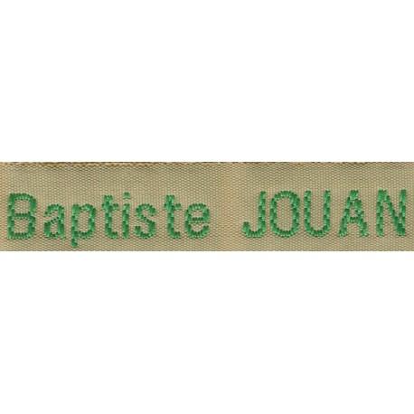 Etiquettes tissées Modèle Z - Ruban Beige 12 mm - Lettrage Vert