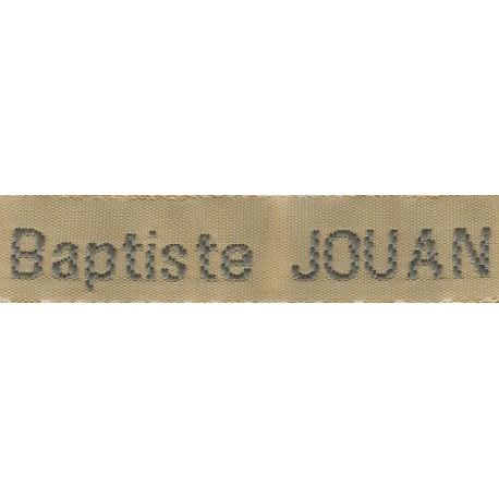 Woven labels, Model Z - Beige 12mm ribbon - Grey lettering