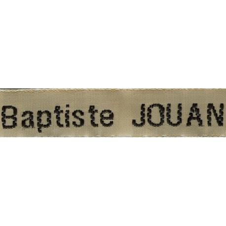 Etiquettes tissées Modèle Z - Ruban Beige 12 mm - Lettrage Noir