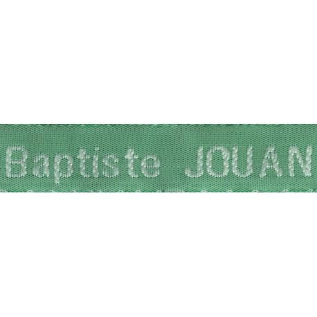 Woven labels, Model Z - Green 12mm ribbon - White lettering