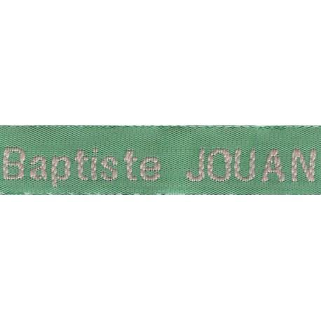 Woven labels, Model Z - Green 12mm ribbon - Pink lettering