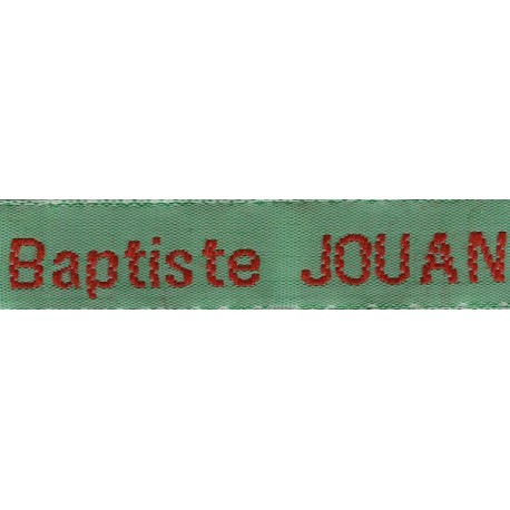 Etiquettes tissées Modèle Z - Ruban Vert 12 mm - Lettrage Rouge
