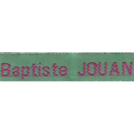 Woven labels, Model Z - Green 12mm ribbon - Fuchsia lettering