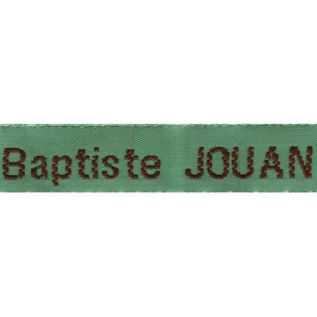 Woven labels, Model Z - Green 12mm ribbon - Brown lettering