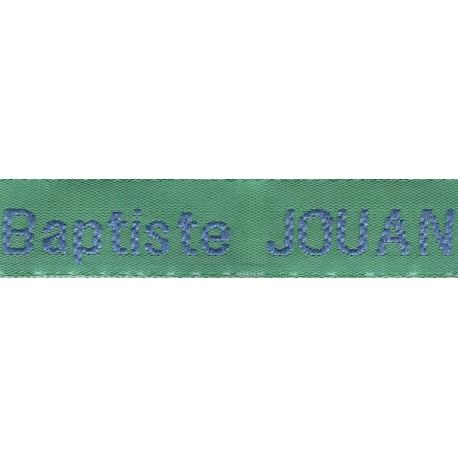 Woven labels, Model Z - Green 12mm ribbon - Sky-blue lettering