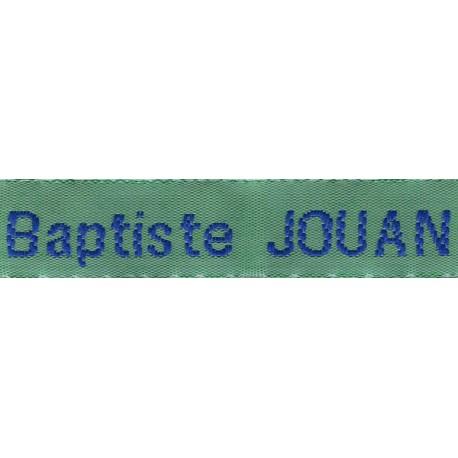 Woven labels, Model Z - Green 12mm ribbon - Royal blue lettering