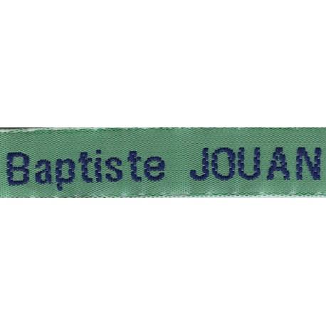 Etiquettes tissées Modèle Z - Ruban Vert 12 mm - Lettrage Marine