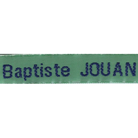 Woven labels, Model Z - Green 12mm ribbon - Navy lettering
